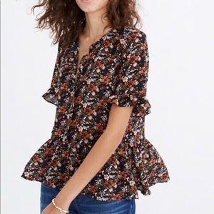 Silk Madewell Peplum Floral Top